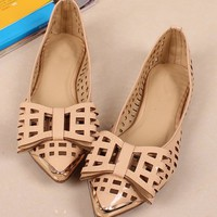 OASAP - Cut-out Vamp and Bowknot Pointed Toe Flats - Street Fashion Store