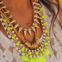 Gold tone spike/stud rhinestone statement chain choker necklace, blogger style, edgy hipster, rock and roll..