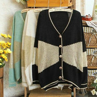 New Ladies Women Loose CONTRAST COLOR Cardigan Tops Casual Sweater outwear cute