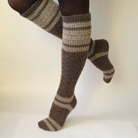 Knee high socks. Boot socks. Leg warmers. Ladies size M lace & patterned, beige/brown. Lace socks. Hand knit socks.