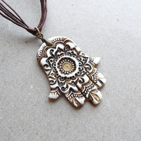 Hamsa necklace pendant, faux ivory, aged bone pendant, polymer clay jewelry Christmas sale CHRISTMAS12