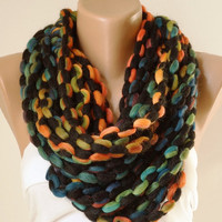 Under 25 Winter Accessories-Infinity Scarf-Loop Scarf-Circle Scarf-Rainbow- Chunky-Funny-Cowl Scarf