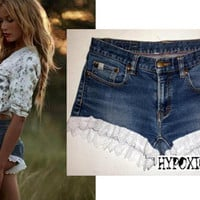 HypoxicAndLost - Handmade - BLUE FRILLY Denim Cut Off Shorts