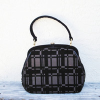 Vintage Handbag / Black Velvet Bag Geometric Pattern on Brown Background