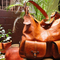 Handcrafted Artisan Genuine Natural Leather Satchel Camayagues Duna Claro , Bag for Woman