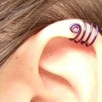 Purple Spiral Ear Cuff Triple Wrap
