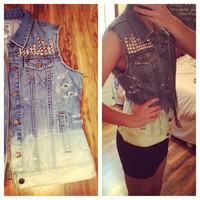 Studded Dip Dyed Ombre Distressed Denim Vest Sz. Large