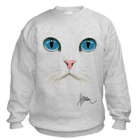 Cat Face Sweatshirt (Small, Ash Grey)