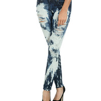 Splatter Destroyed Skinny Jean | Shop Trending Now at Wet Seal