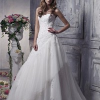 Organza A-line strapless halter sweep train white/ivory sexy spring 2012 Anjolique Wedding Dresses AWD188 -Shop offer 2012 wedding dresses,prom dresses,party dresses for girls on sale. #Category#