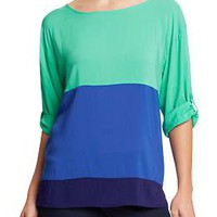 Women's Color-Blocked Crepe Blouses | Old Navy