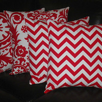 "Decorative Pillow Covers FOUR 20x20 lipstick red, white CHEVRON SUZANI Accent Pillow Two Sets 20"" throw pillow Zig Zag"