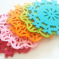 8 Felt Doilies Assorted Colors