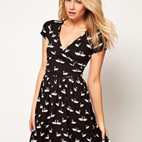 ASOS Skater Dress with Ballet Wrap In Swan Print at asos.com