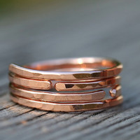 Skinny hammered copper ring, stacker. ONE copper ring. Open stackable ring. Adjustable ring.