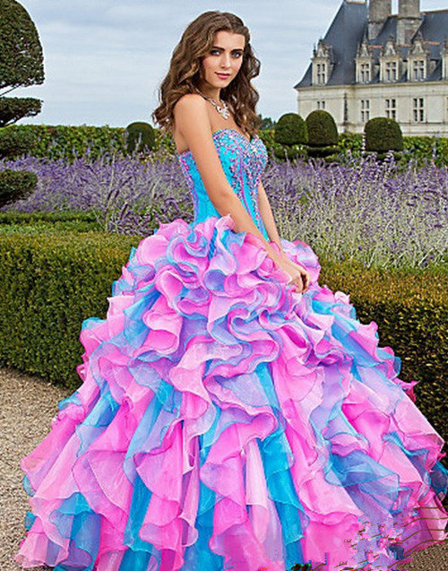 New 2013 Organza Pageant Prom Dress Ball Gown Quinceanera Dresses