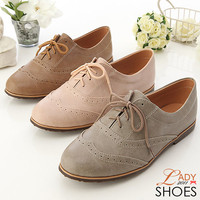  Women&#x27;s Oxford Lace Up Flats Shoes 3 Colors Graceful