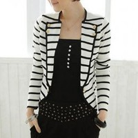 New Arrival Navy Style Stripe Ladies Coats  : Wholesaleclothing4u.com