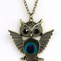 Antique Gold Owl Necklace