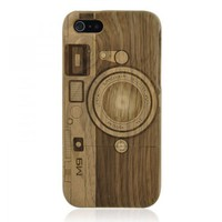 Hand Carved Camera Walnut iPhone 5 Case -M9