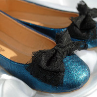 Toddler Shoes Ballet Flats in Teal Glitter by SRoskillyDesigns