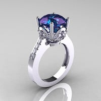 Classic 14K White Gold 3.0 Carat Russian Chrysoberyl Alexandrite Diamond Solitaire Wedding Ring R301-14KWGDAL