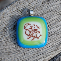 Dog Pendant Running Dog Fused Glass Pendant Handmade Jewelry