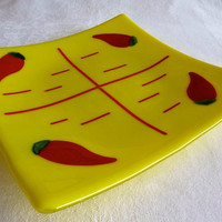 Yellow Glass Plate with Red Chilies by bprdesigns on Etsy