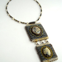 Cleopatra Bead Embroidery and Bead Woven Serpentine Cabochon with Citrine and Hematite beads