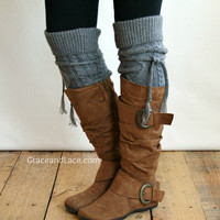 Alpine Thigh High Slouch Sock - Mid Grey thick cable knit socks with fold over cuff and tassel tie - boot sock leg warmer (item no. 6-10)