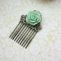 A Vintage Style Mint Green Rose Flower Art Nouveau Antiqued Bronze Filigree Hair Comb. Summer. Maid of Honor. Bridesmaids Gifts. Romantic.