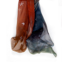 Woman silk scarf painted by hand-Hand painted silk scarf-Ombre silk scarf with silver stars burnt orange to blue gray