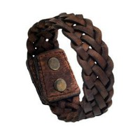 "Brown Braided Wide PU Leather Double Snap 8"" Bracelet Wristband Unique Cuff: Jewelry: Amazon.com"