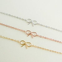 tiny small cute bow bracelet CHOOSE ONE gold / silver / rose gold