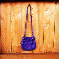vintage purple suede handbag with tassels. Boho Hipster Hippie festival. gift for her