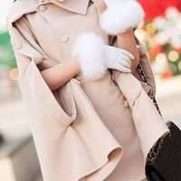 OASAP - Cape Style Pure Color Double Breasted Wool Coat - Street Fashion Store