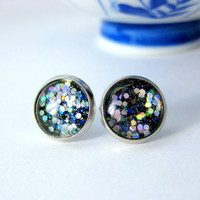 Nail Polish Jewelry, iridescent, Glass Stud Earrings, Silver, Nickle Free, Confetti, Multi Color, Silver, Sparkles, for her, Under 20