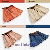 Hot! Fashion Pleated Floral Chiffon Women Ladies Cute Mini Skirt with Belt