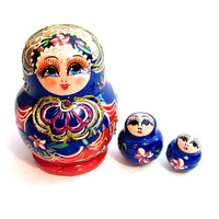 Vintage Painted Russian Nesting Dolls, Incomplete