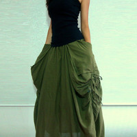 Lagenlook Maxi Skirt Big Pockets Long Skirt - in Army Green Cotton Long Skirt