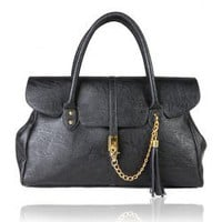 Elegent Women's Bag With Clasp Chain and Tassel Embellished Solid Color