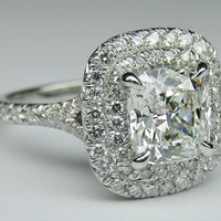 Engagement Ring - Cushion Diamond Double Halo Pave Engagement Ring in 14K White Gold - ES922CUWG