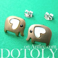 PRE ORDER Small Elephant Earrings in Dark Silver with Heart Ears - ALLERGY FREE by Dotoly
