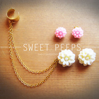Big White and Pink Flower Set Studs with Changeable Gold Ear Cuff