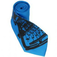 Vintage Typewriter Tie - Electric Blue