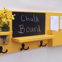 Mail Organizer - Coat Rack - Mail Holder - Letter Holder - Chalkboard - Chalk board - Key Hooks - Jar Vase - Organizer - Coat Rack - Wood