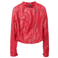 Band Collar Multi-pockets Fitted Red Jacket