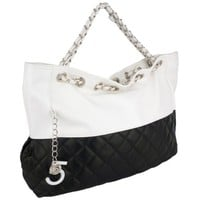 CAMRYN Summer Silvertone Black Quilted Accent Double Shoulder Chain Oversized Tote Bag Hobo Satchel Handbag Purse