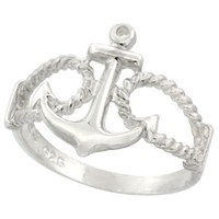 Sterling Silver Anchor Ring 9/16 inch (14 mm) long, sizes 4.5 - 9
