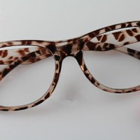 Cute Nerd Glasses Frames with Bow Tie Bow Knot Cat Eyes for Girls Leopard Cheetah NO LENSES